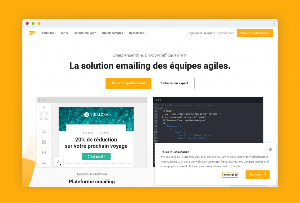mailjet page accueil