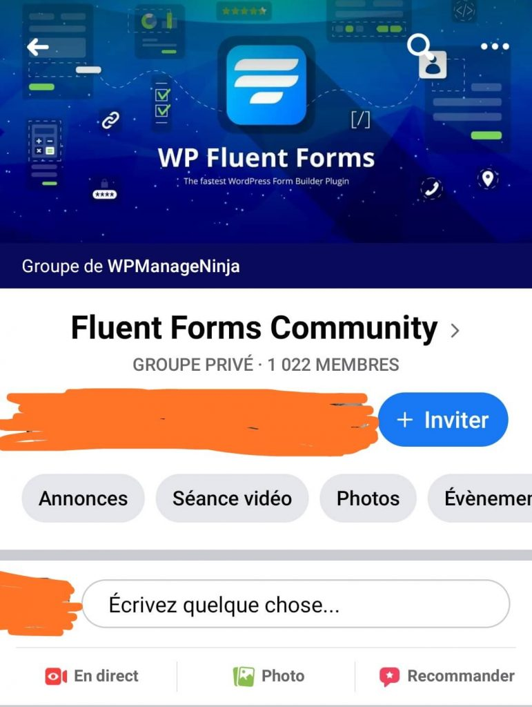 Groupe Facebook Fluent Forms