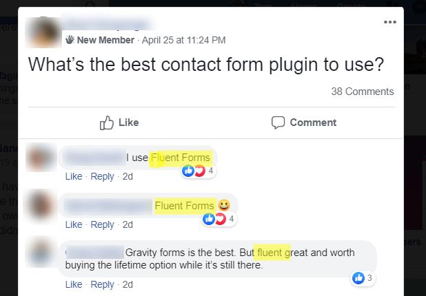 fluent forms avis sur facebook