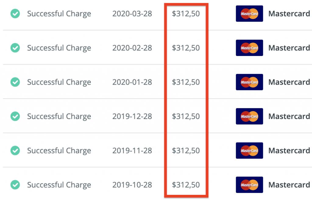 Mon abonnement mensuel à Zapier : 312$ par mois