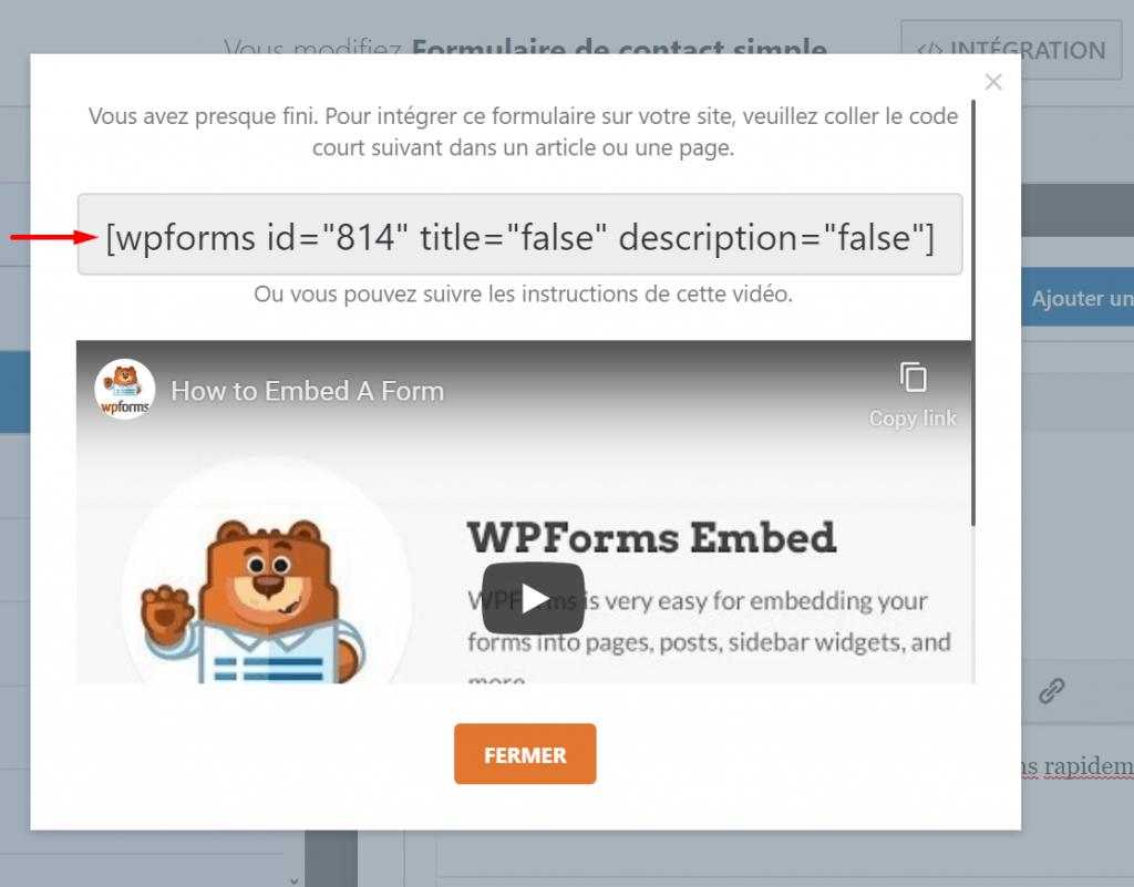 Shortcode wpforms